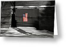 Flag On A Wentworth Barn  Greeting Card