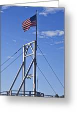 Flag On Perkins Cove Bridge - Maine Greeting Card