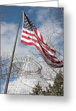 Flag Over Spokane Pavilion Greeting Card