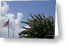 Flag With Pink Flowers Greeting Card