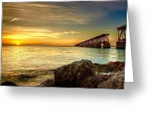 Flagler Bridge At Sunset Greeting Card