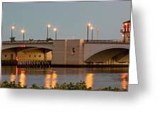 Flagler Bridge In Lights IIi Greeting Card