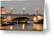 Flagler Bridge In Lights Iv Greeting Card