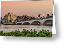 Flagler Bridge In The Evening I Greeting Card