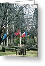 Flags At Sam Houston Schoolhouse Greeting Card