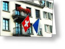Flags Of Switzerland And Zurich Greeting Card