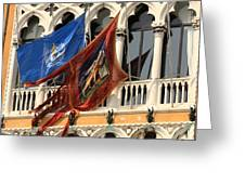 Flags On Palazzo In Venice Greeting Card