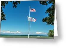 Flags On The Shoreline Greeting Card