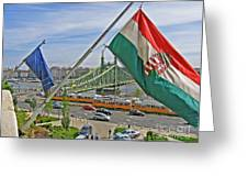 Flags Over Budapest Greeting Card