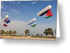 Flags Over Doha Greeting Card by Paul Cowan