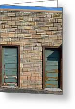 Flagstone Wall And Two Green Doors Greeting Card