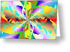 Flamboyant Fractal Fire Flower Greeting Card