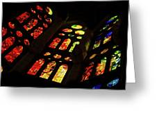 Flamboyant Stained Glass Window Greeting Card