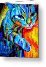 Flaming Blue And Orange Kitty Cat Tiger Resting Gently From The Prowl Greeting Card