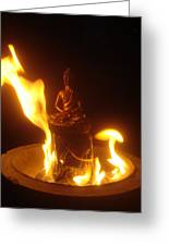 Flaming Buddha Greeting Card by Steve Griffith