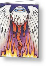 Flaming Flying Eyeball Greeting Card