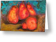 Flaming Pears Greeting Card