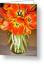 Flaming Tulips In A Vase Greeting Card