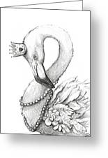 Flamingo In Pearl Necklace Greeting Card