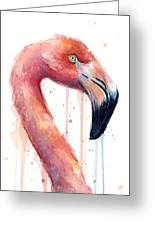 Flamingo Painting Watercolor - Facing Right Greeting Card