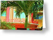 Flamingo Plaza Greeting Card