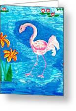 Flamingo Greeting Card by Sushila Burgess