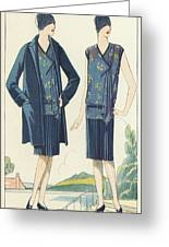 Flappers In Frocks And Coats, 1928  Greeting Card