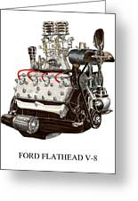 Flat Head V 8 Engine Greeting Card