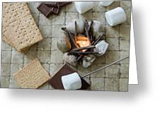 Flat Lay Camp Fire S'mores Deconstructed Greeting Card