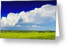 Flat Open Grassland And Sky Greeting Card