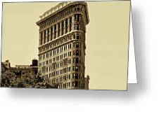 Flatiron Building In Sepia Greeting Card