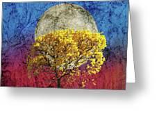 Flavo Luna In Ligno Greeting Card