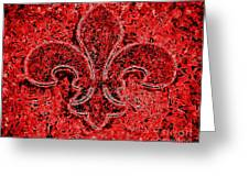 Fleur De Lis Red Ice Greeting Card