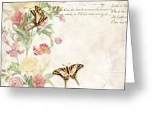 Fleurs De Pivoine - Watercolor W Butterflies In A French Vintage Wallpaper Style Greeting Card