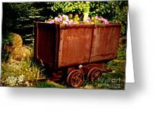 Fleurs In Rustic Ore Car Greeting Card