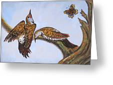Flickers Dancing Wild Animal Vignette From River Mural Greeting Card