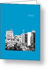 Flint Michigan Skyline - Aqua Greeting Card
