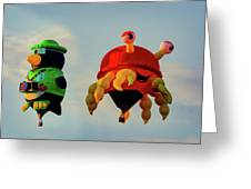 Floating Aerial Photographer And The Smiling Crab Greeting Card