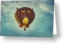 Floating Cat - Hot Air Balloon Greeting Card