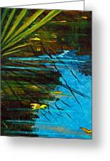 Floating Gold On Reflected Blue Greeting Card