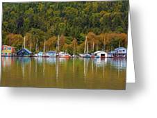 Floating Homes Along Multnomah Channel In Portland Oregon Greeting Card