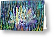 Floating Lotus - Peace In Our Lifetime Greeting Card