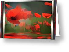 Floating Wild Red Poppies Greeting Card