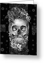 Floral Beard Skull 3 Greeting Card