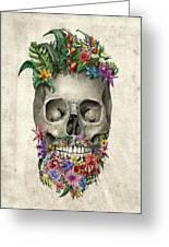 Floral Beard Skull Greeting Card