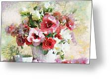 Floral Bouquet Table Setting In Tiny Bubbles Greeting Card
