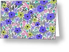 Floral Burst Of Blue Greeting Card