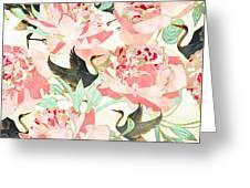 Floral Cranes Greeting Card