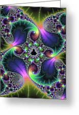 Floral Fractal Art Jewel Tones Vertical Greeting Card