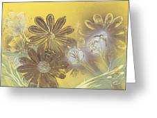 Floral In Gold And Yellow Greeting Card